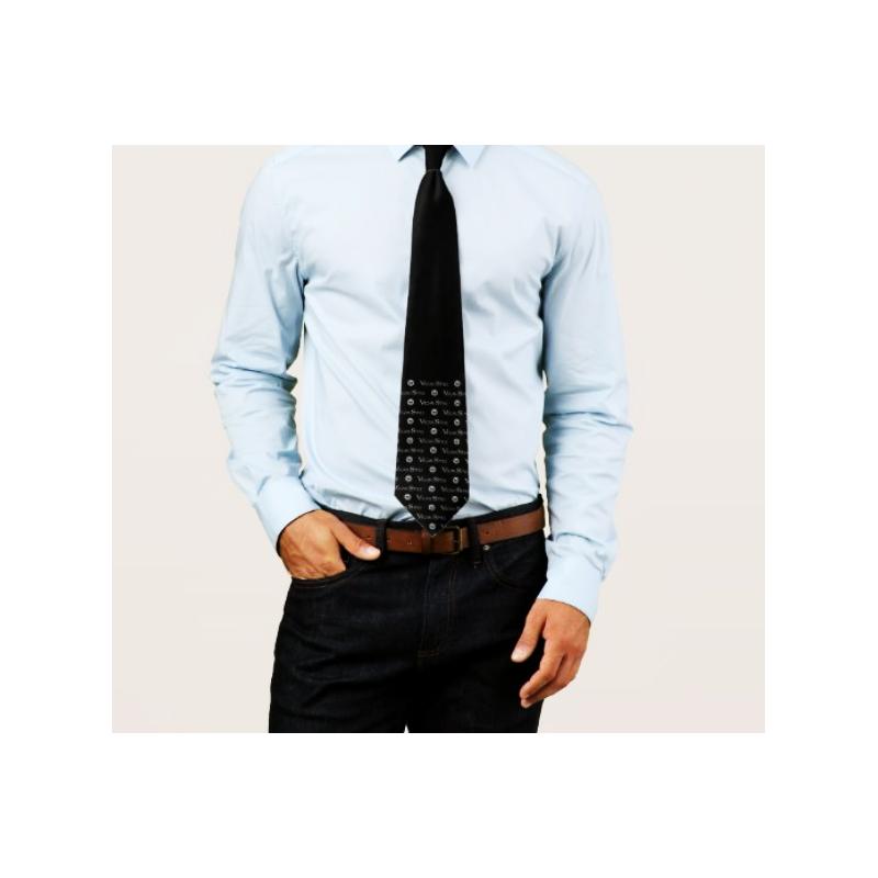 Cravate soyeuse no silk noir et gris